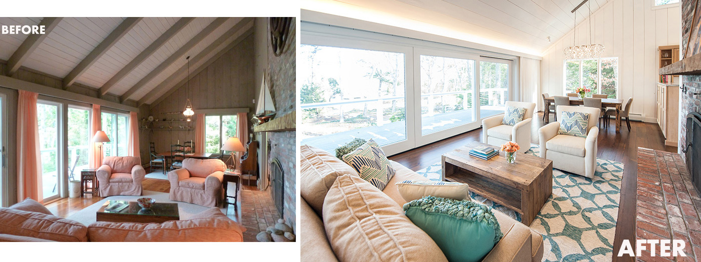 Before and after living room transformation for a custom high-end Cape Cod renovation by Salt Architecture