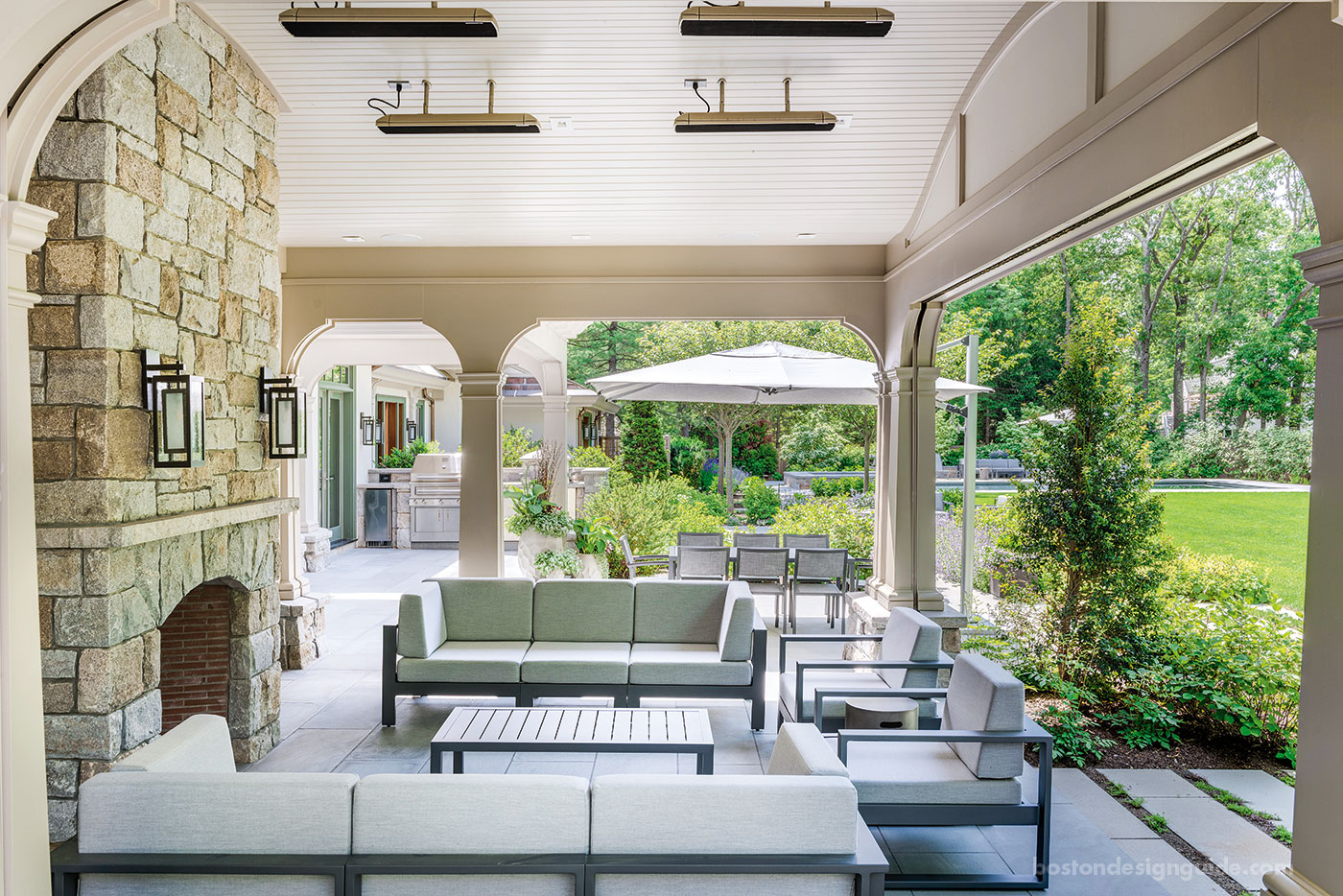 All-season porch with fireplace, outdoor heater and Phantom screens