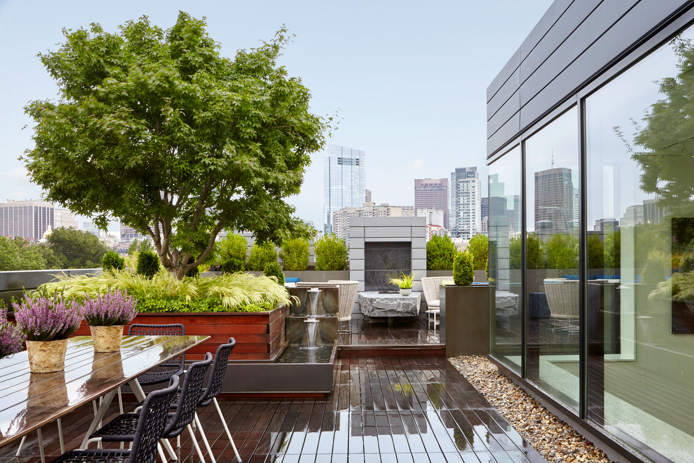 Roof deck with views of the city