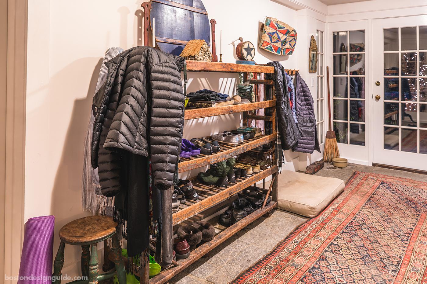 vintage shoe rack in mudroom