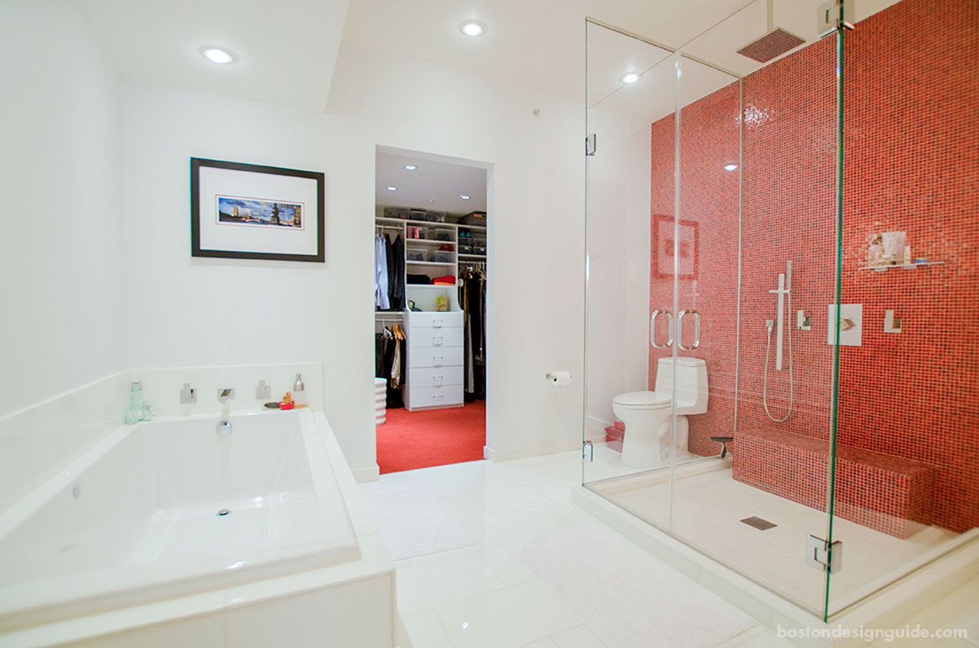 Warm red master bath by Sleeping Dog Properties, Inc