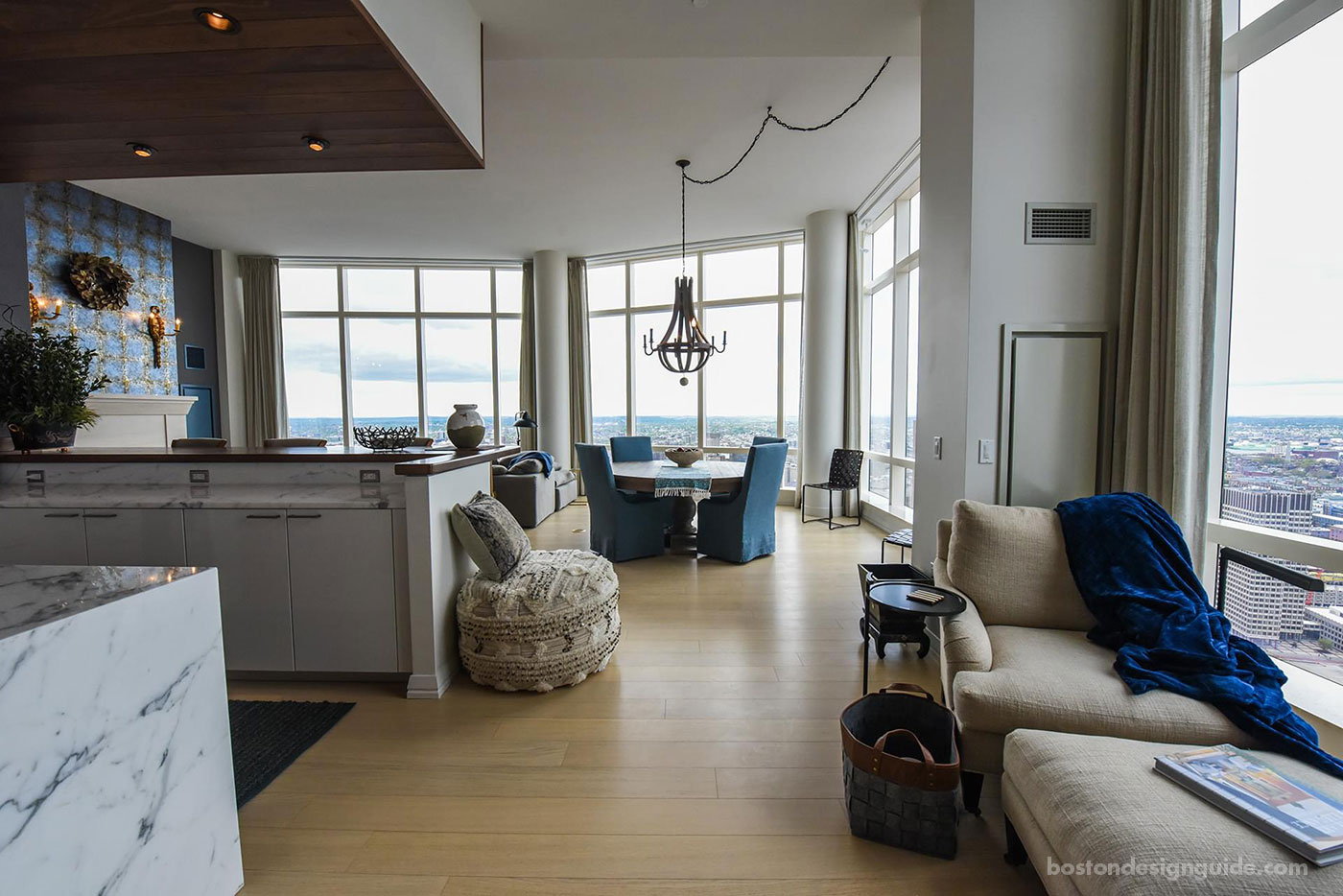 Navy furniture in a Millennium Tower condo remodel