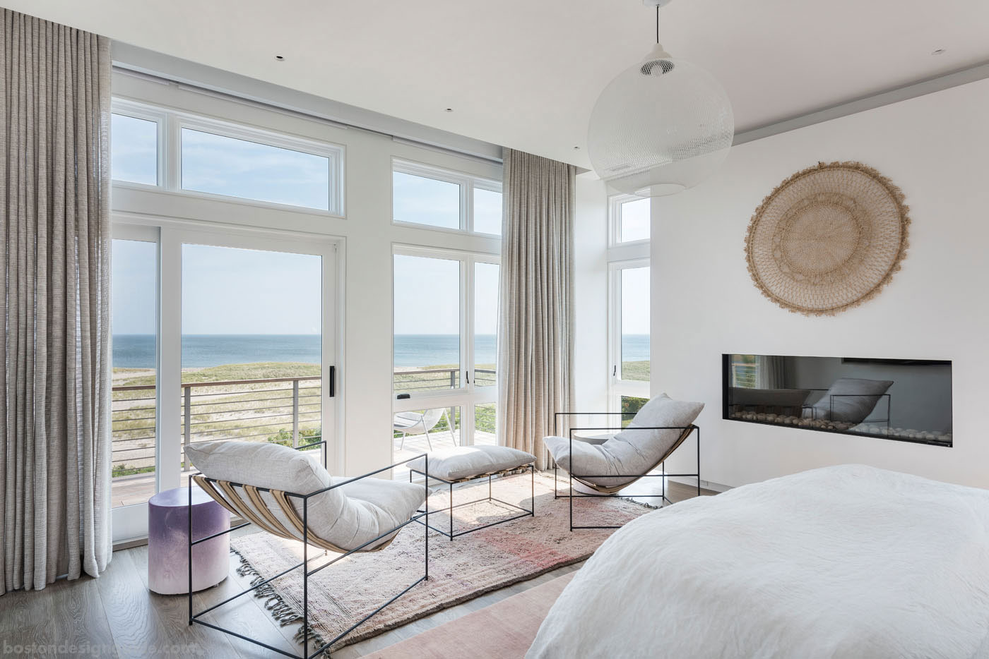 Master bedroom of an organic beach house designed by Lindsay Bentis of Thread by Lindsay Bentis