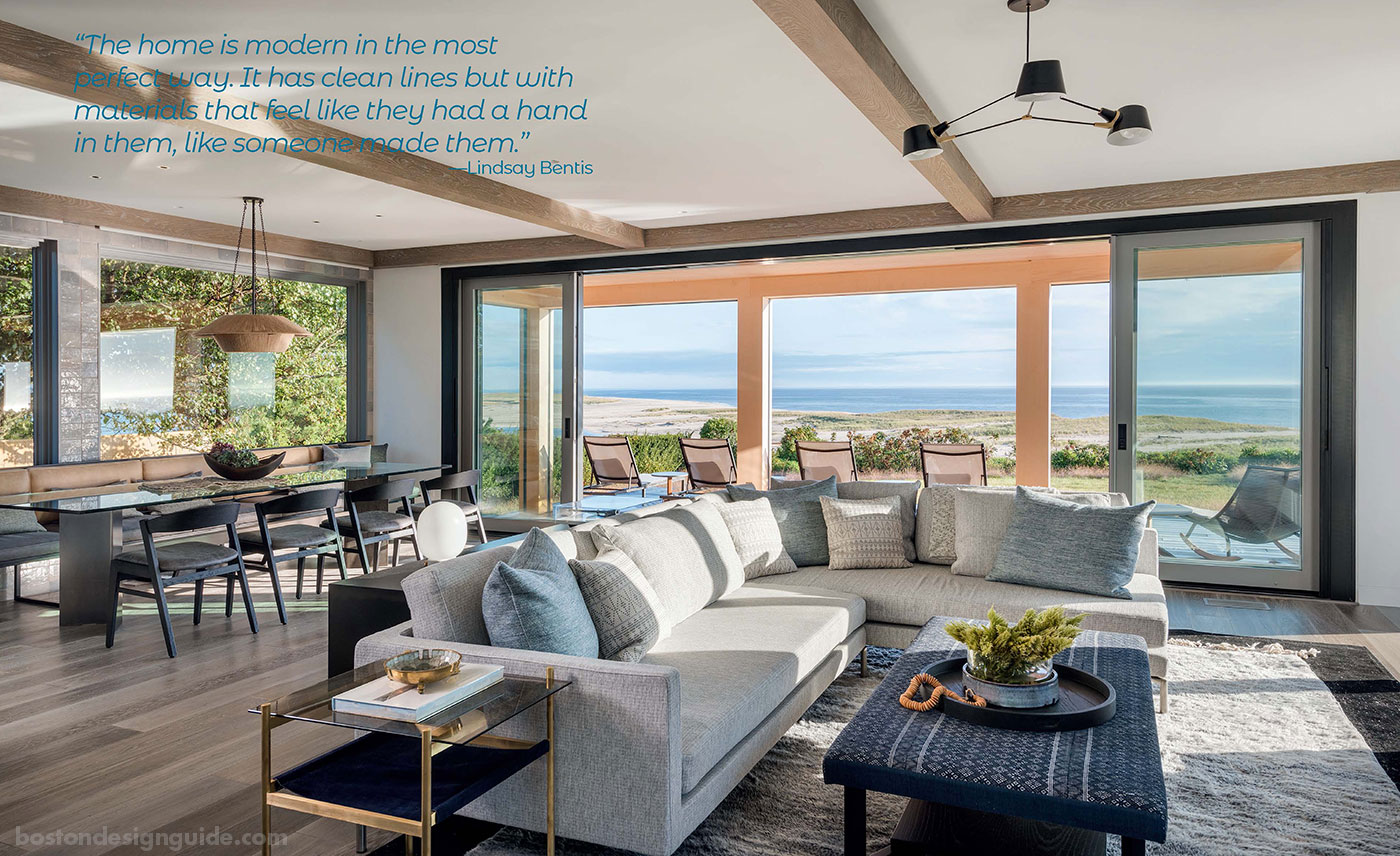 Modern organic living room with beach views on Cape Cod