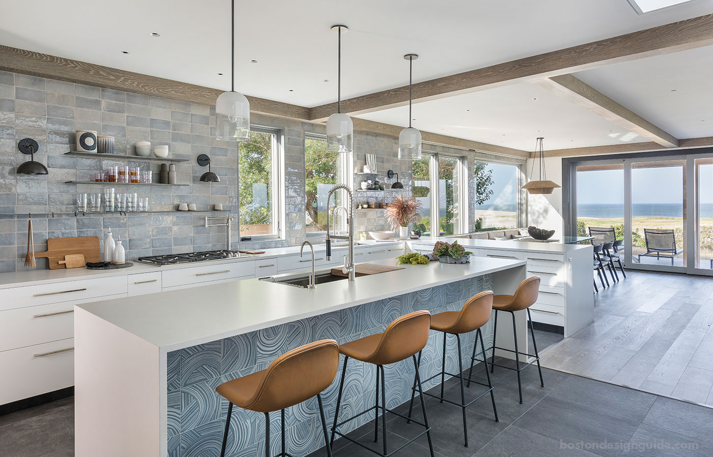 Modern kitchen for a beachfront property with cabinetry by Kochman Reidt + Haigh Cabinetmakers, construction by S.J. Overstreet