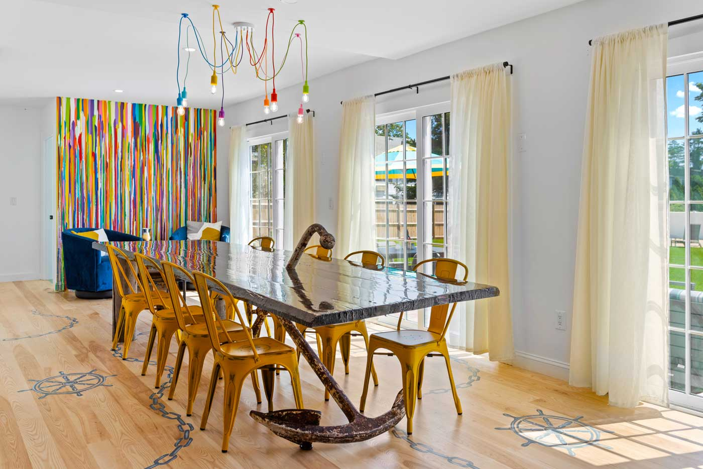 dining table with curtains and light fixture