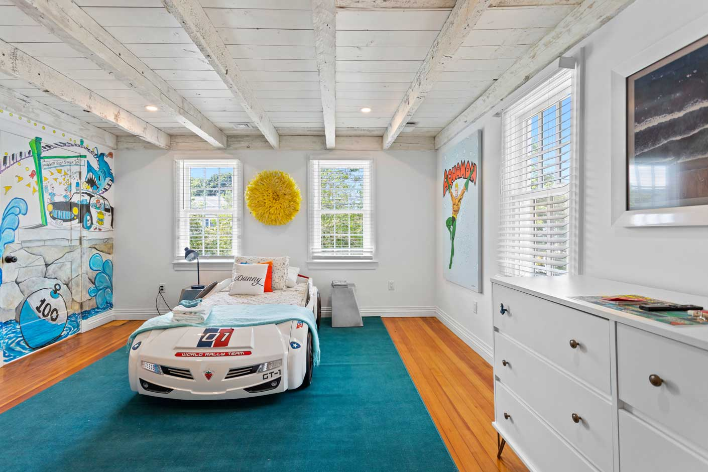 bedroom with race car bed