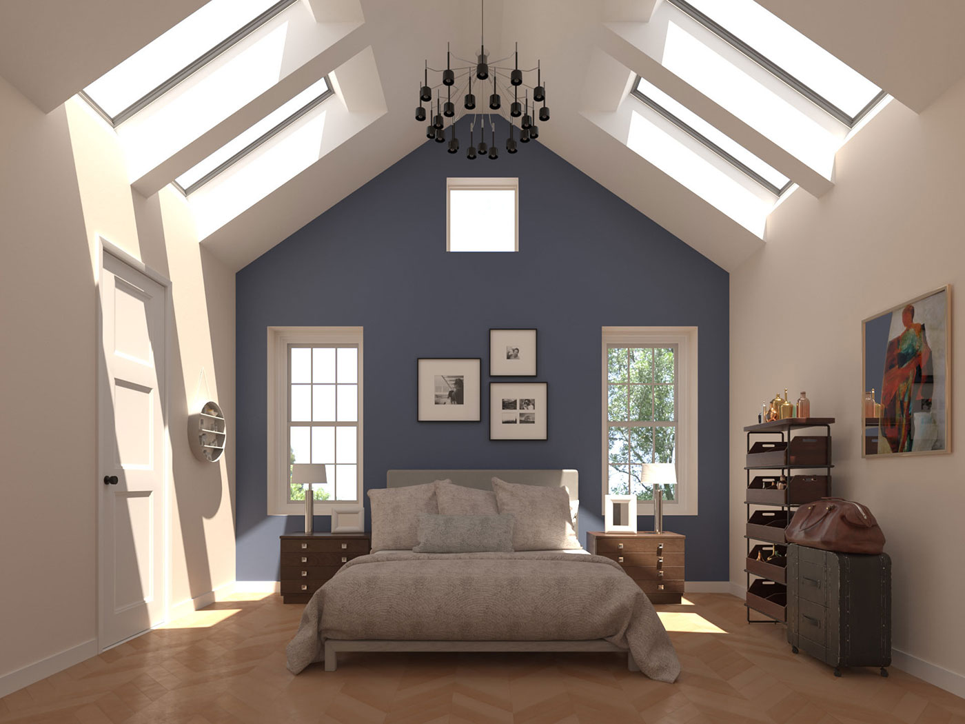 Velux Skylights fill a bedroom with natural light
