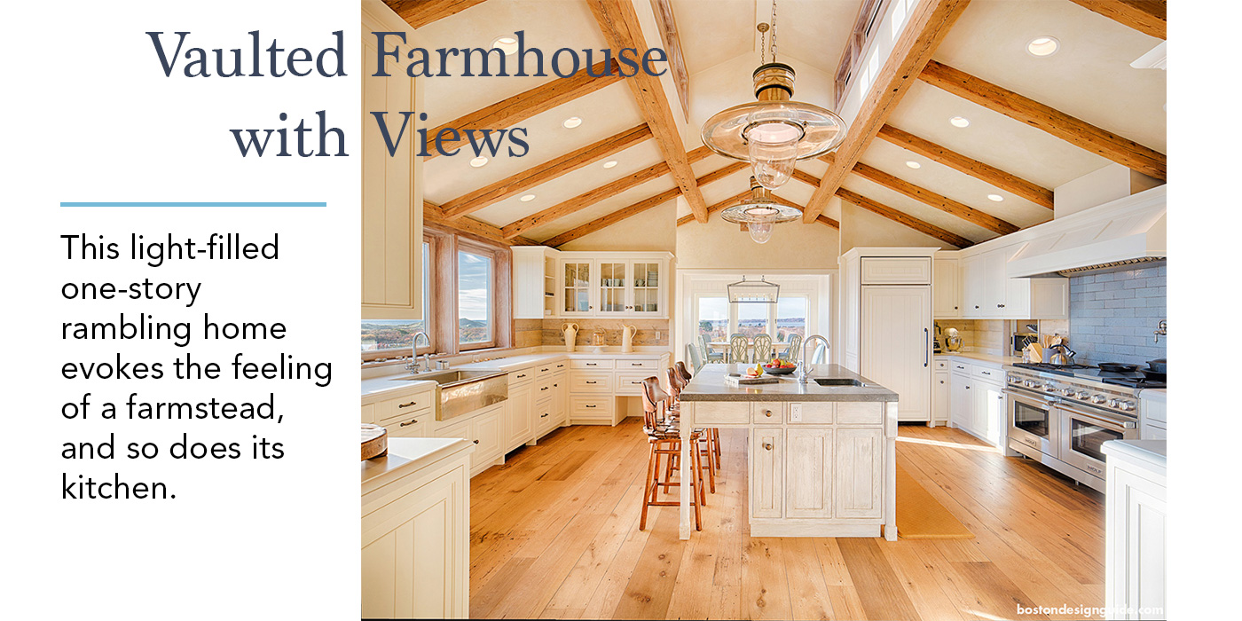Vaulted Ceiling Farmhouse kitchen