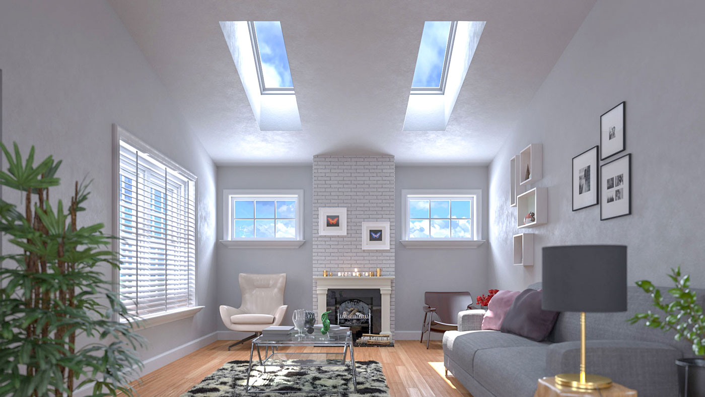 Velux Skylights fill a living room with natural light