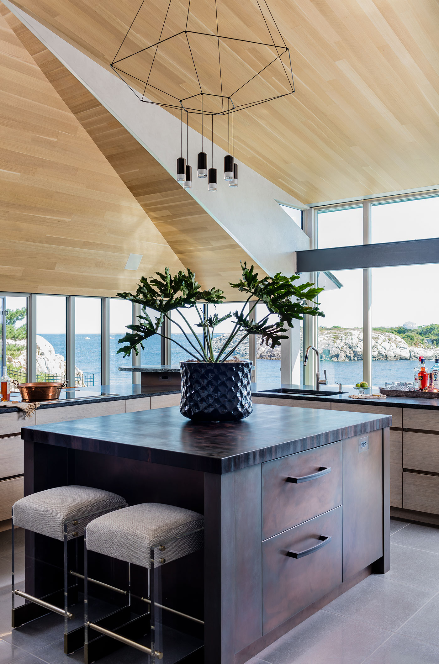 Custom waterside kitchen design by Venegas & Company