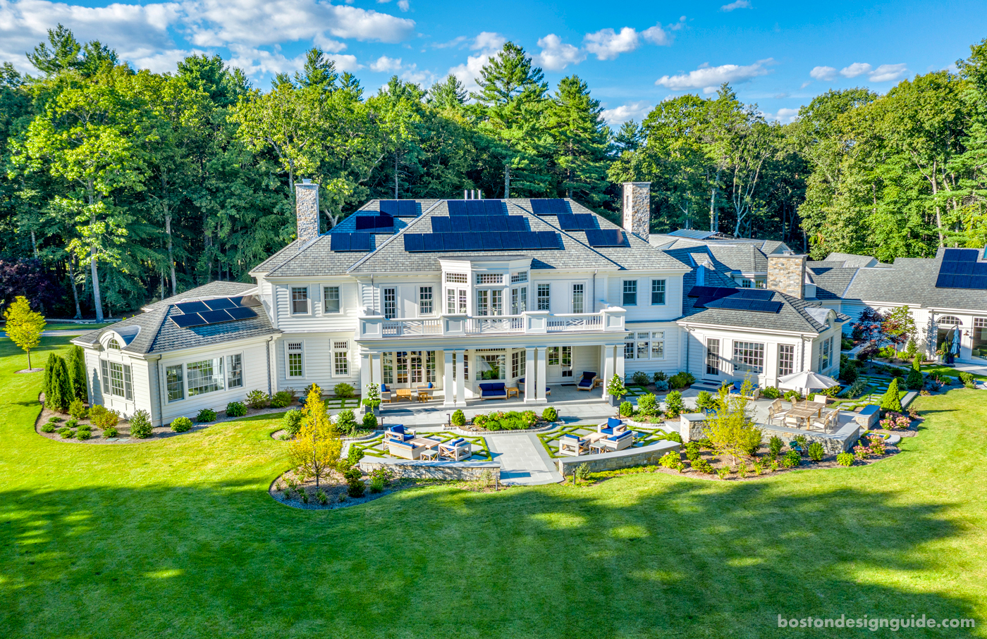 Rear view of a custom New England estate