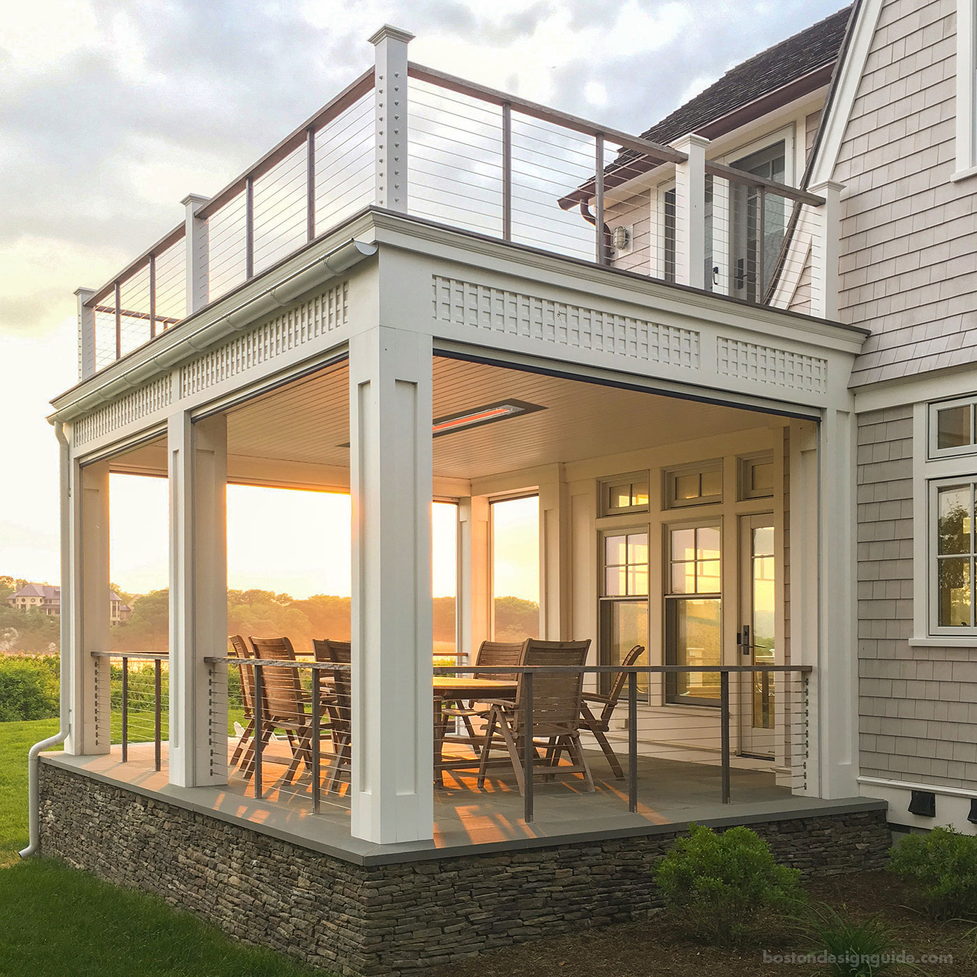Classic Newport porch with an integrated heater by WKP Construction
