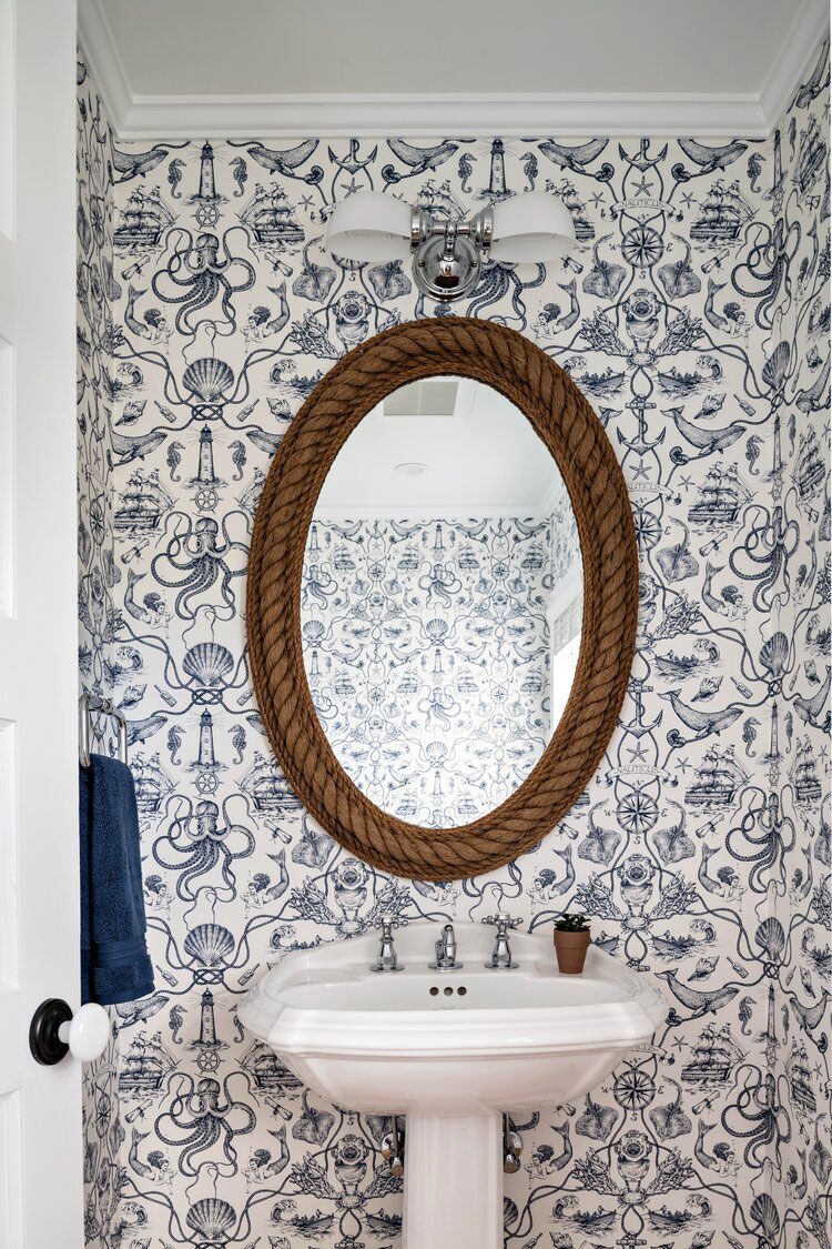 Coastal powder room designed by Washashore Home