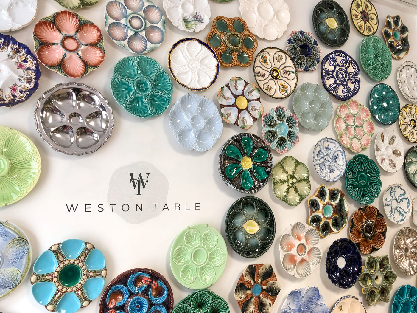 Weston Table's ever changing collection of vintage majolica oyster plates