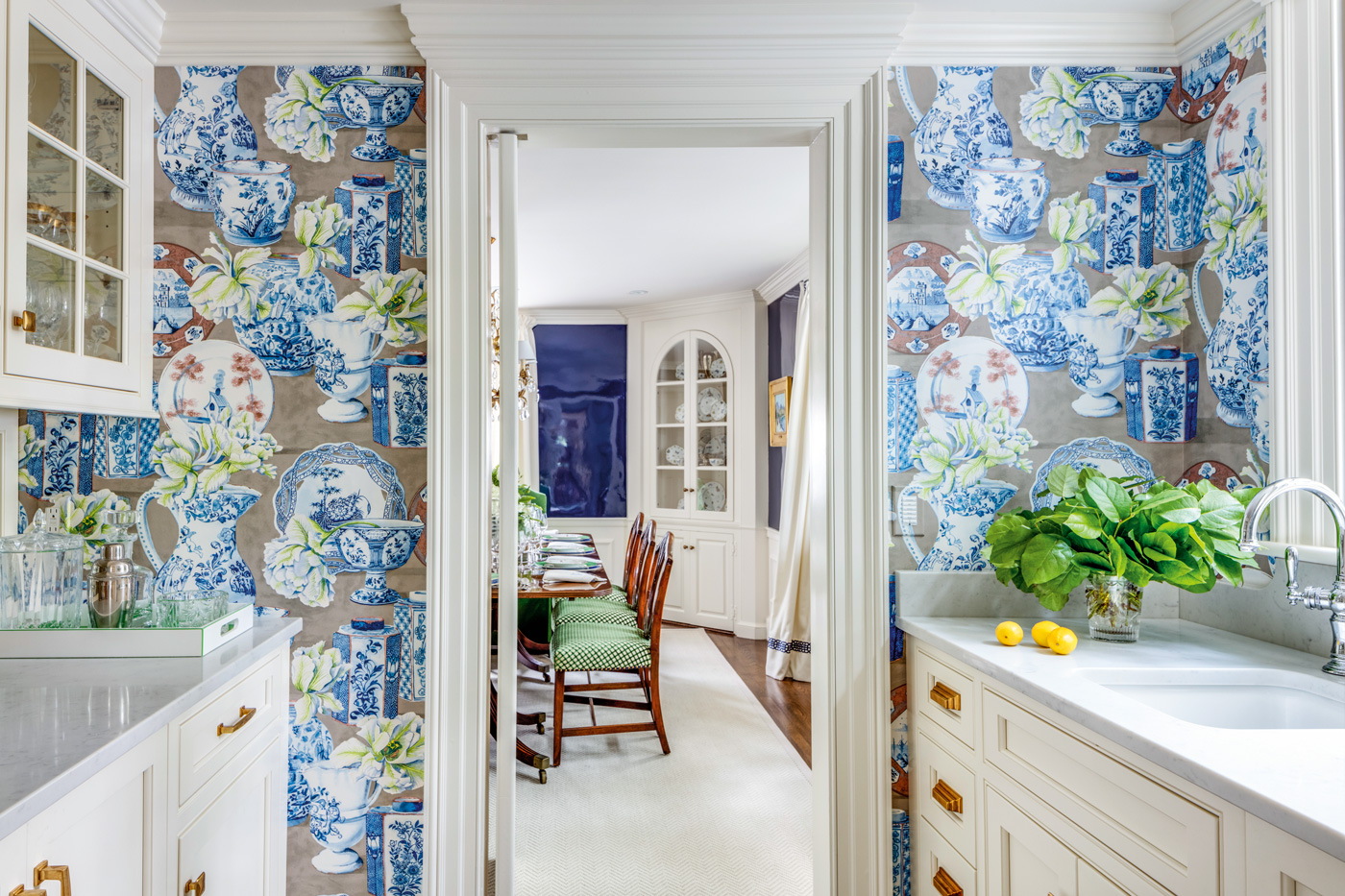 Butler's pantry for a high-end custom home renovation in suburban Boston.