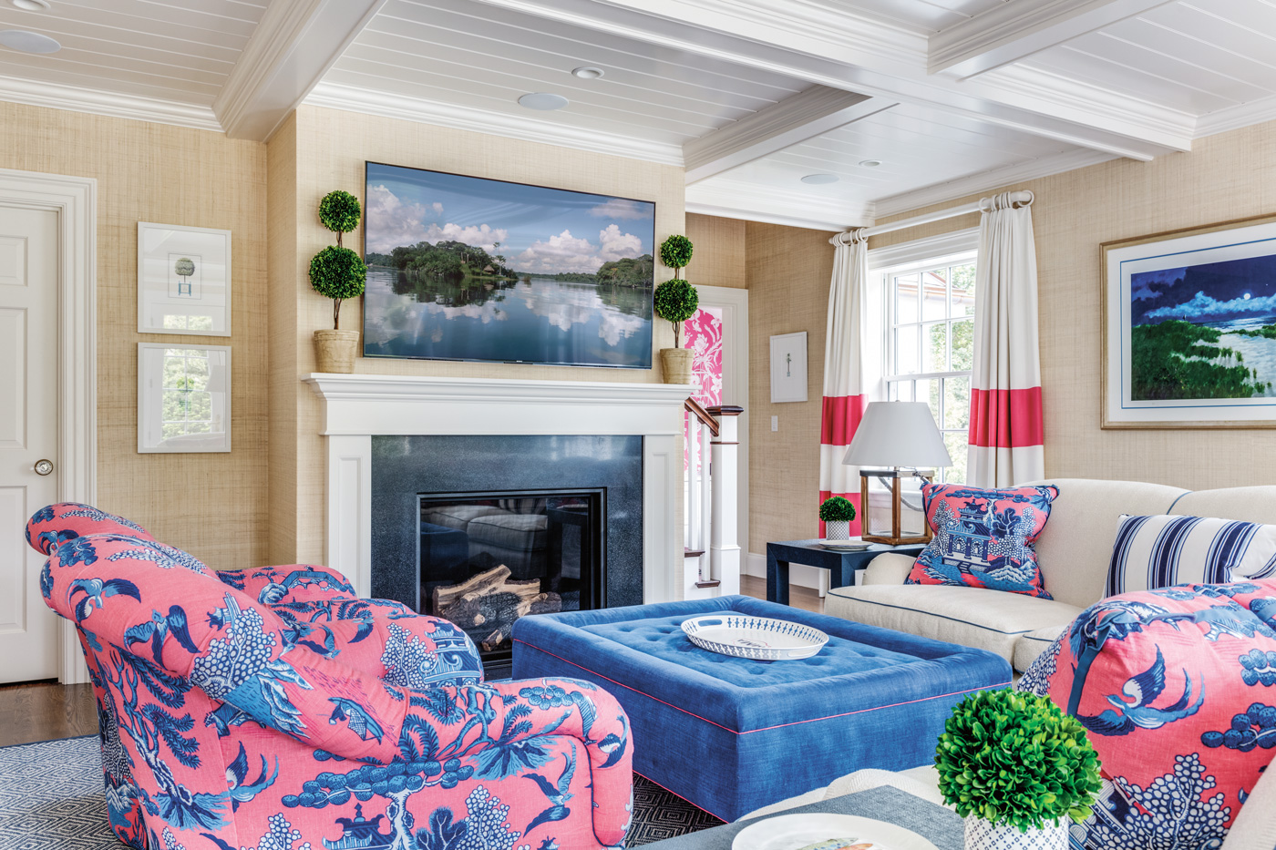 Colorful living room design for a high-end suburban Boston home