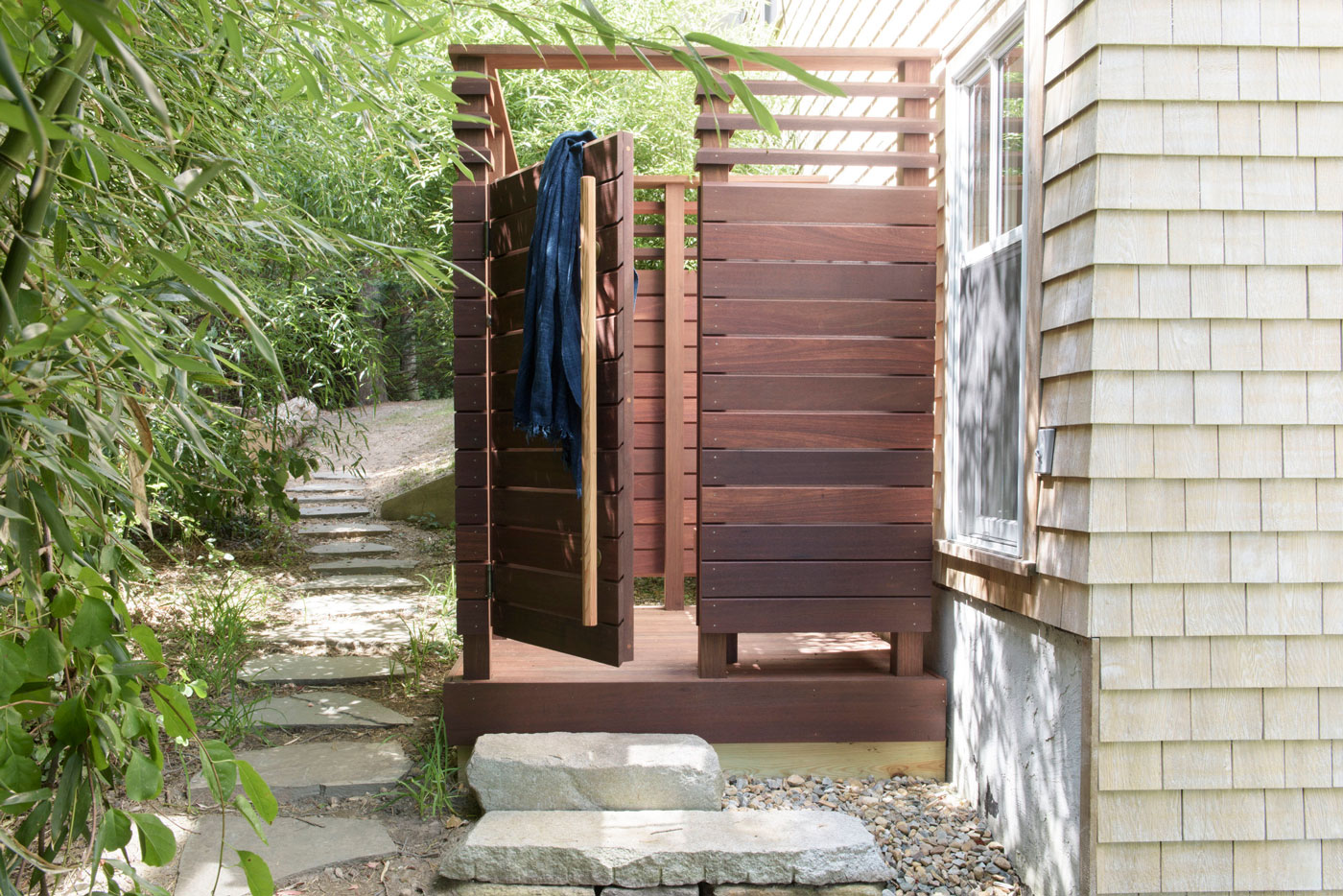 Outdoor Shower design by Worth and Wing of Martha's Vineyard