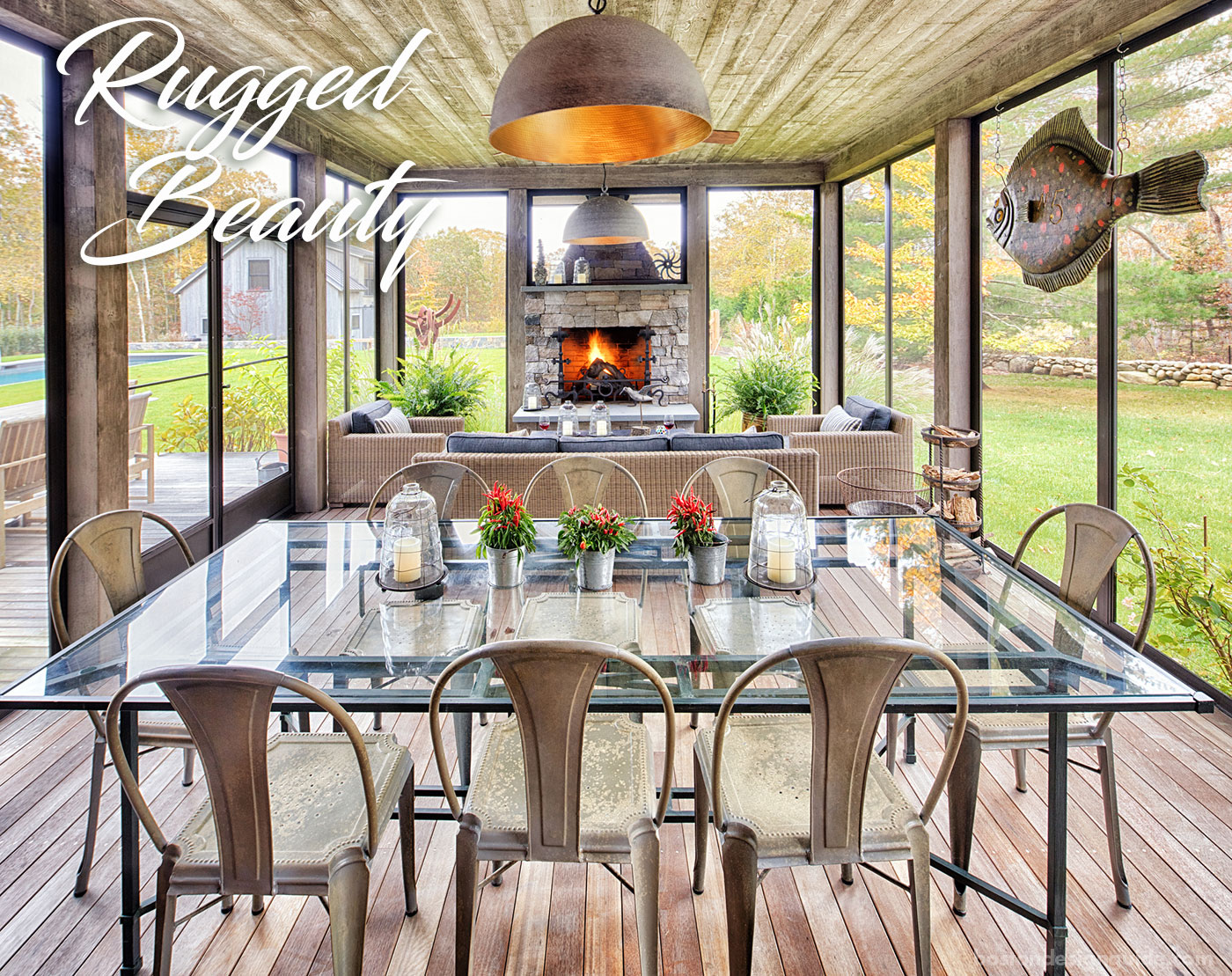 Screen porch on Martha's Vineyard by Yankee Barn Homes
