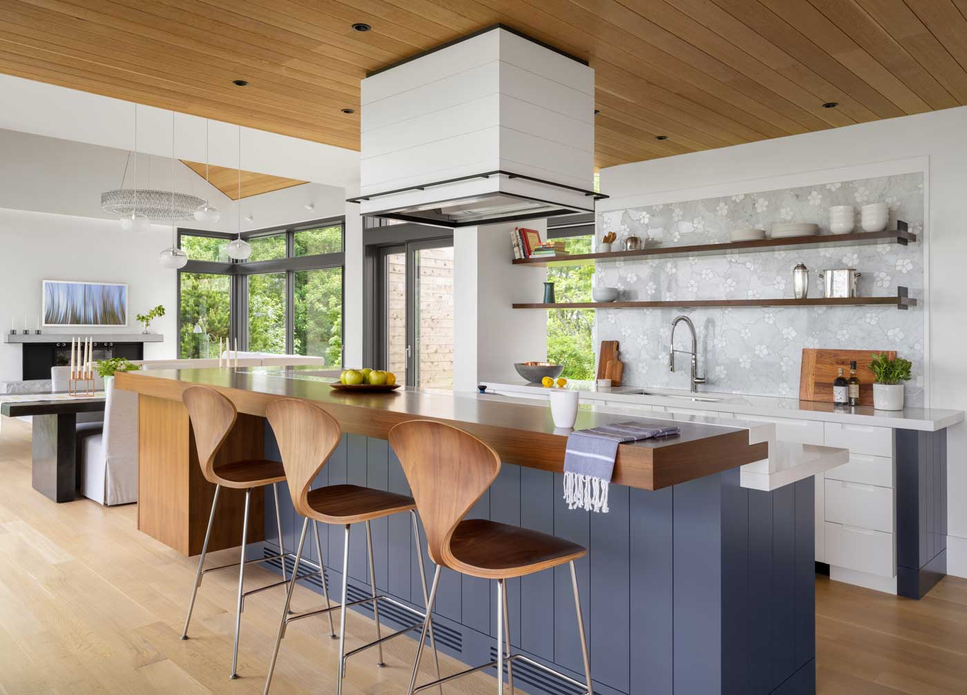 modern kitchen with bar and stools