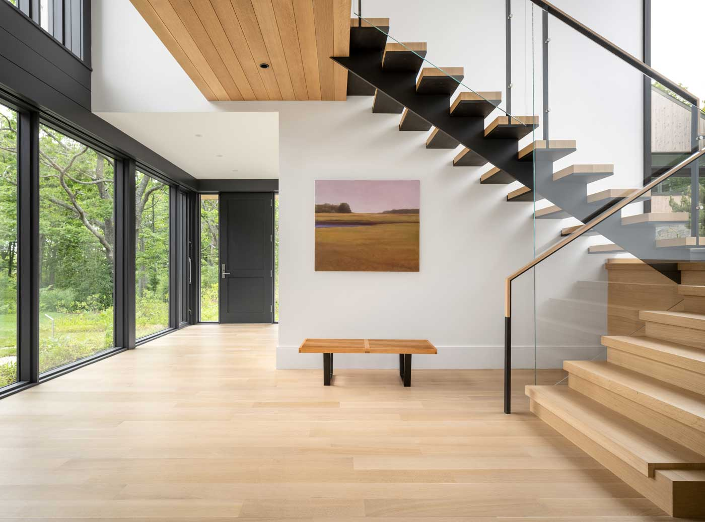 modern staircase front entry
