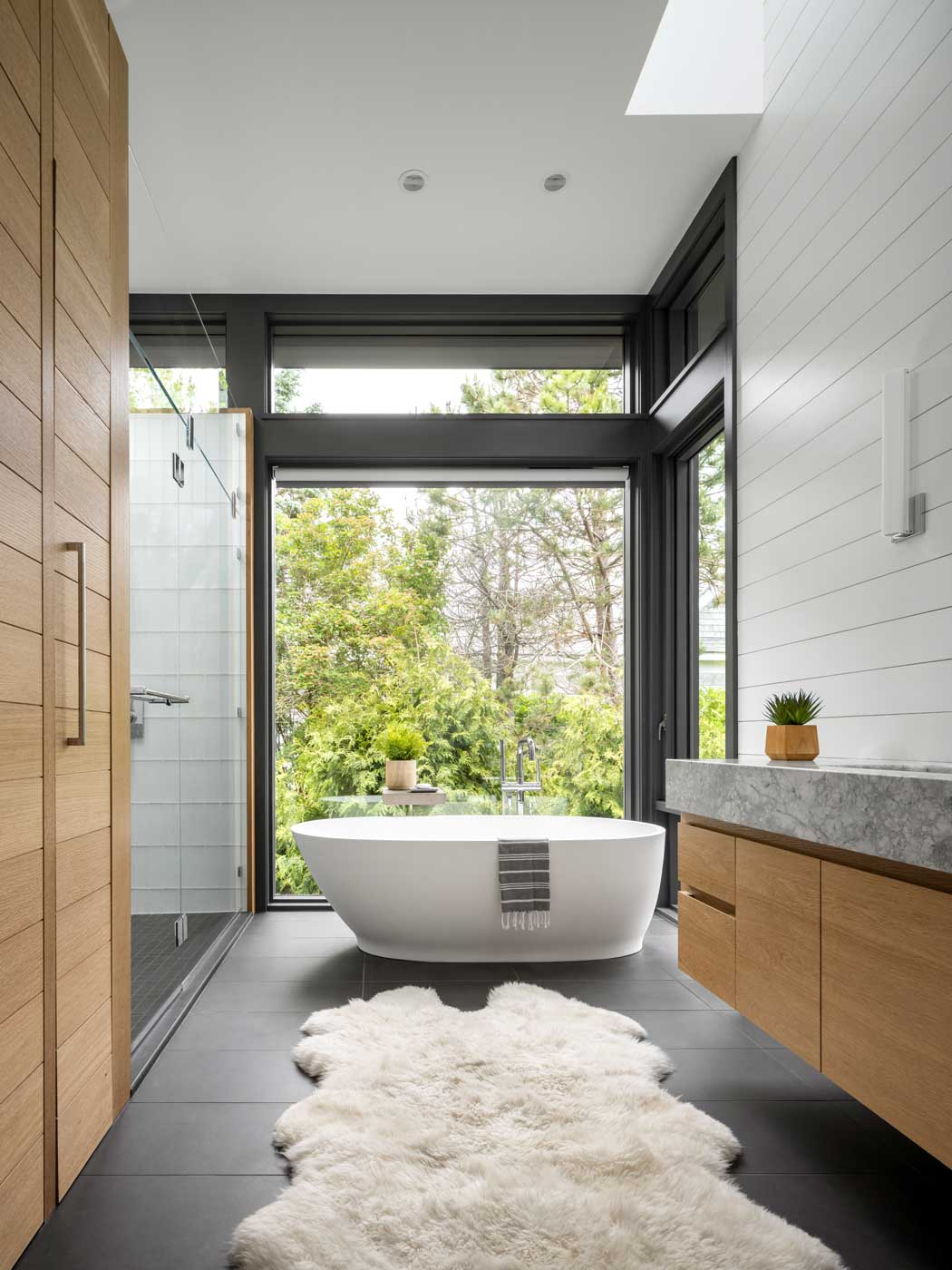 remodeled bathroom with full length windows