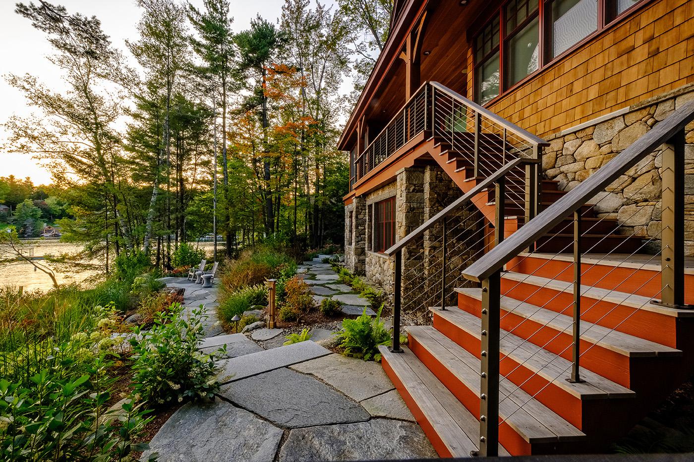 High-end landscape by New Hampshire design/build firm Pellettieri Associates, Inc.