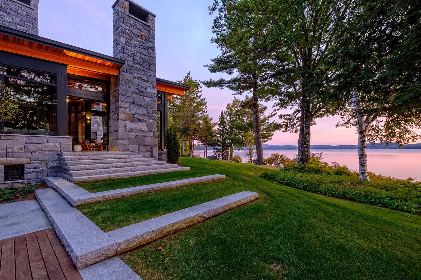 Landscape with water view by high-end landscape design/build firm Pellettieri Associates, Inc.