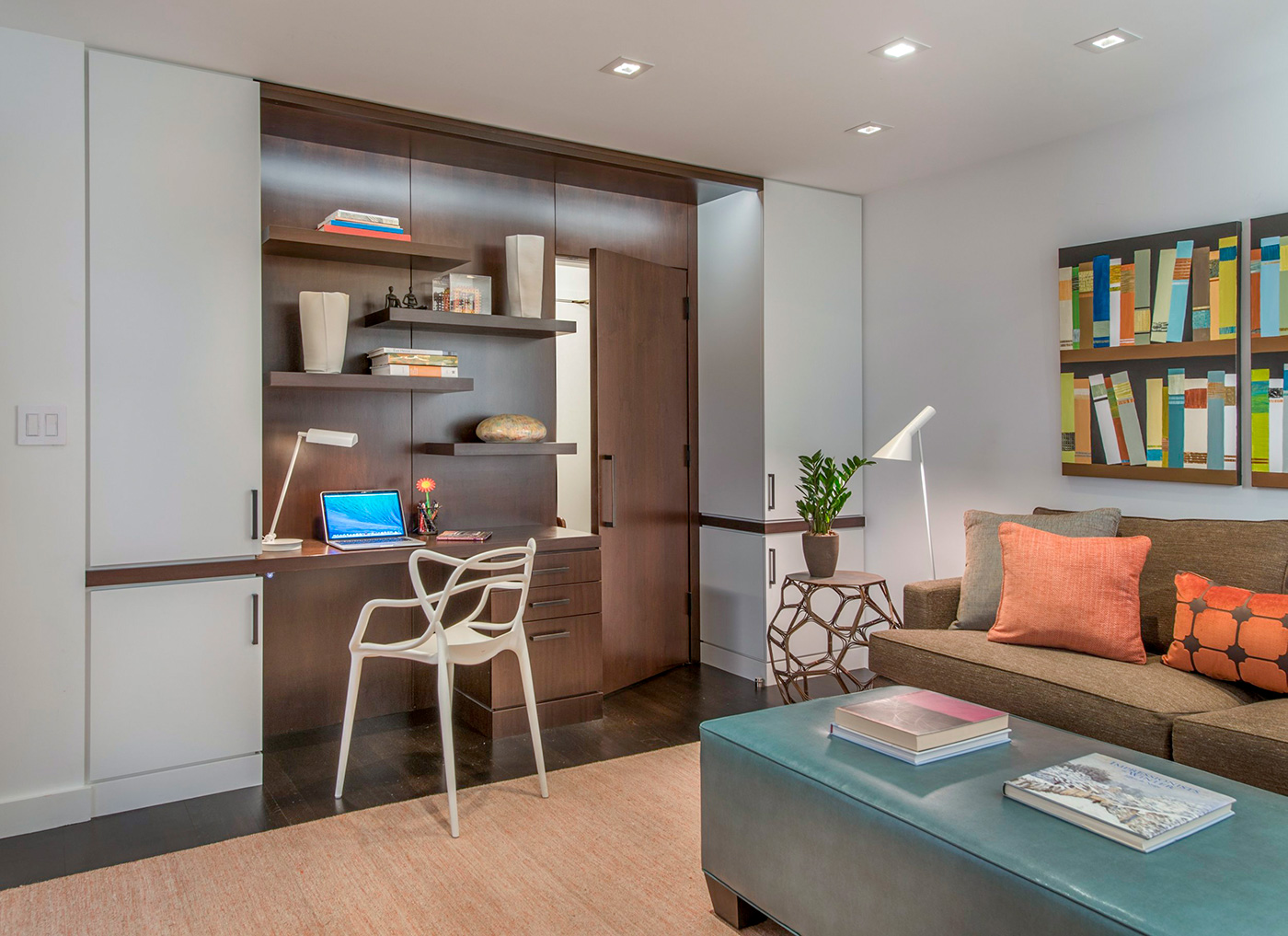 Home office design carved right into the wall by Adams + Beasley Associates