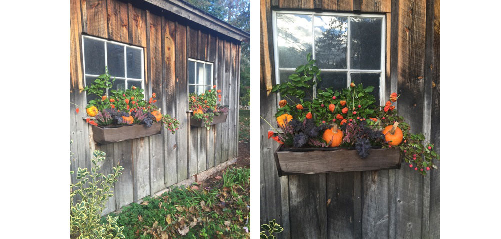 barn Flower basket arrangement for fall