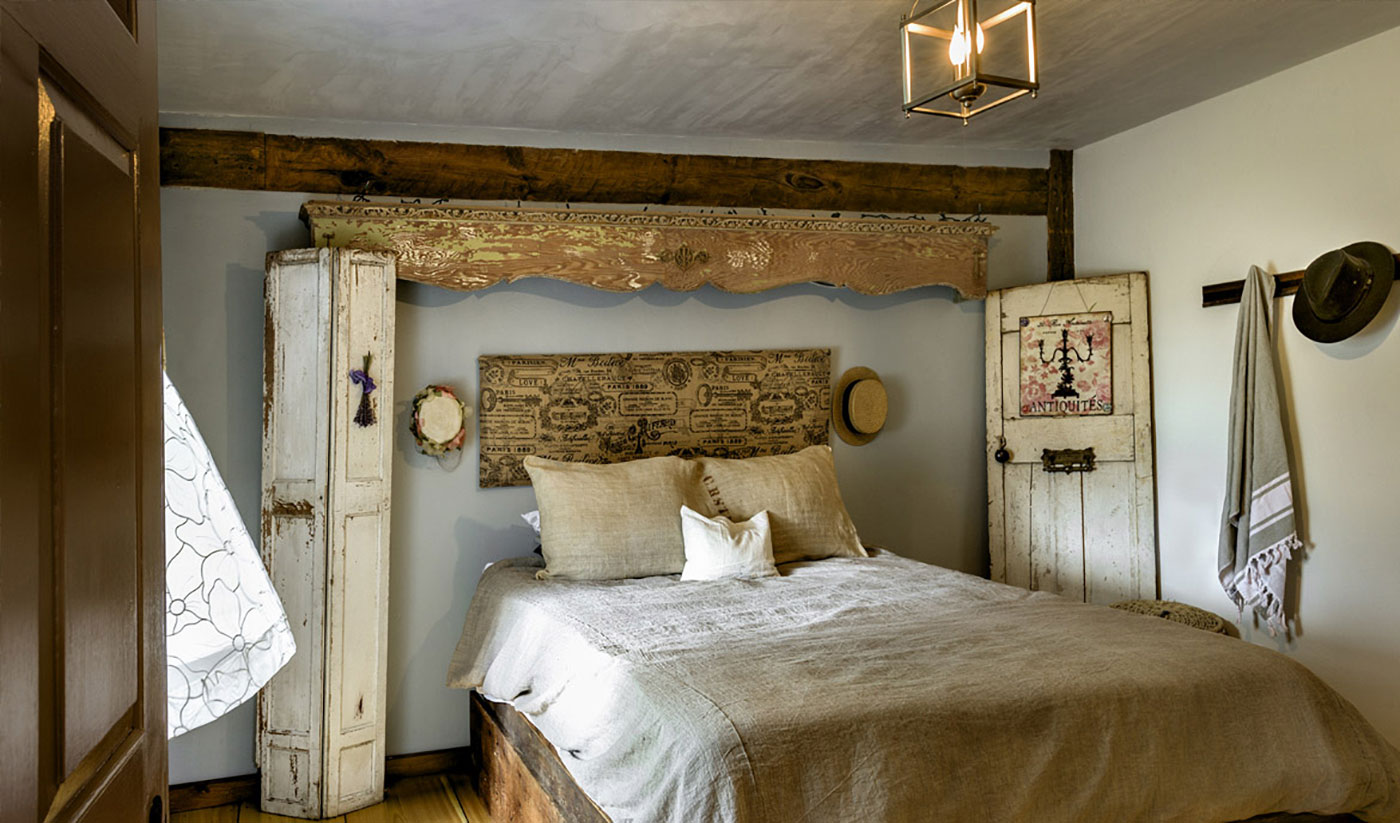 Vintage bedroom in New England barn house
