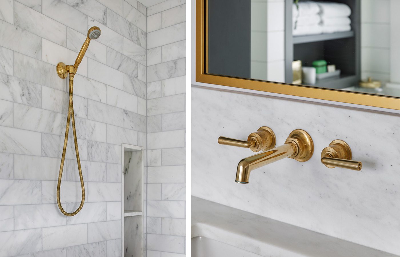Brass bath fixtures in newly remodeled bath