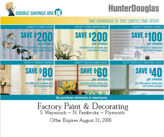 save on hunterdouglas at factory paint decorating