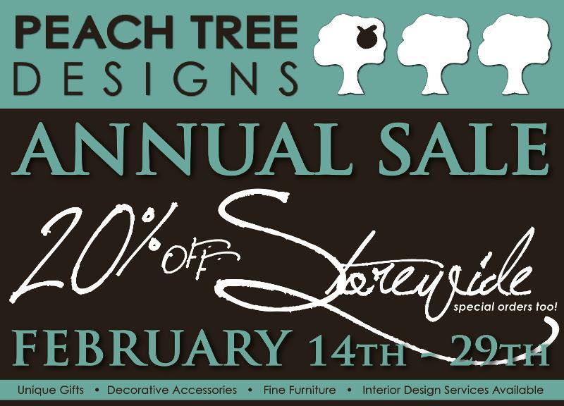 Peach tree designs annual sale 20 off storewide feb 14 for Peach tree designs