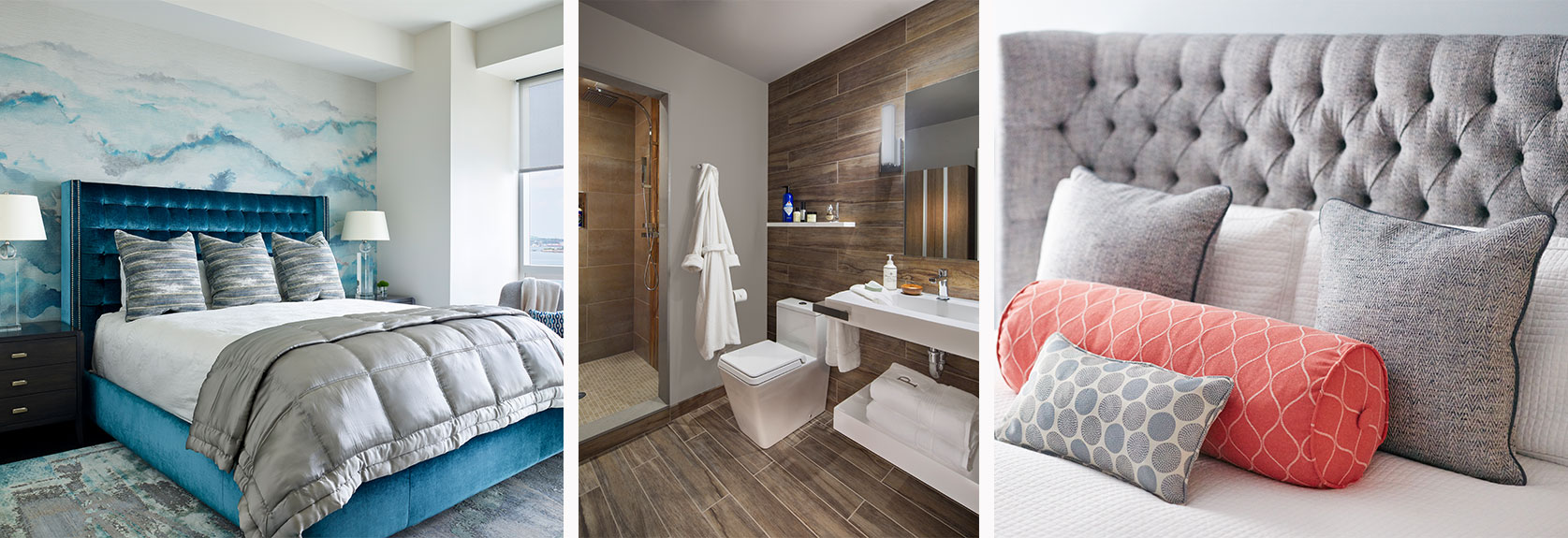Bedroom and bathroom designs by Interiology Design Co.