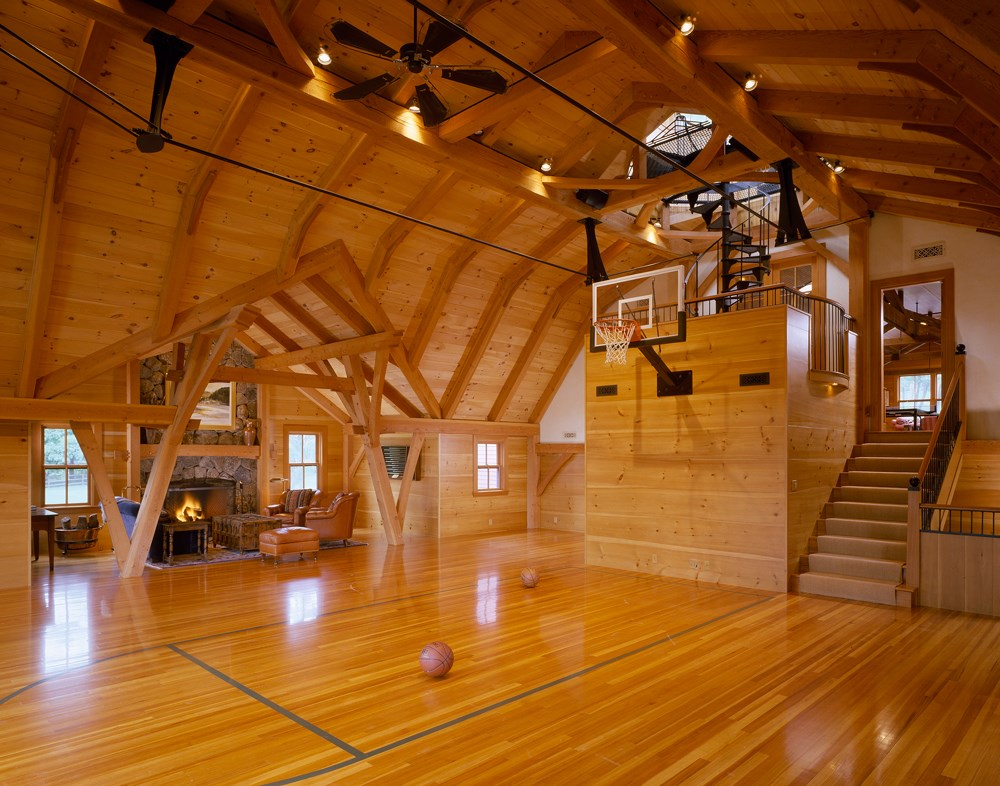 High-end indoor basketball court and entertainment barn