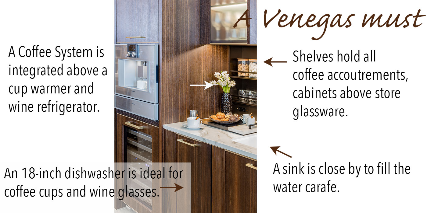 A kitchen coffee and wine station—a Venegas and Company must