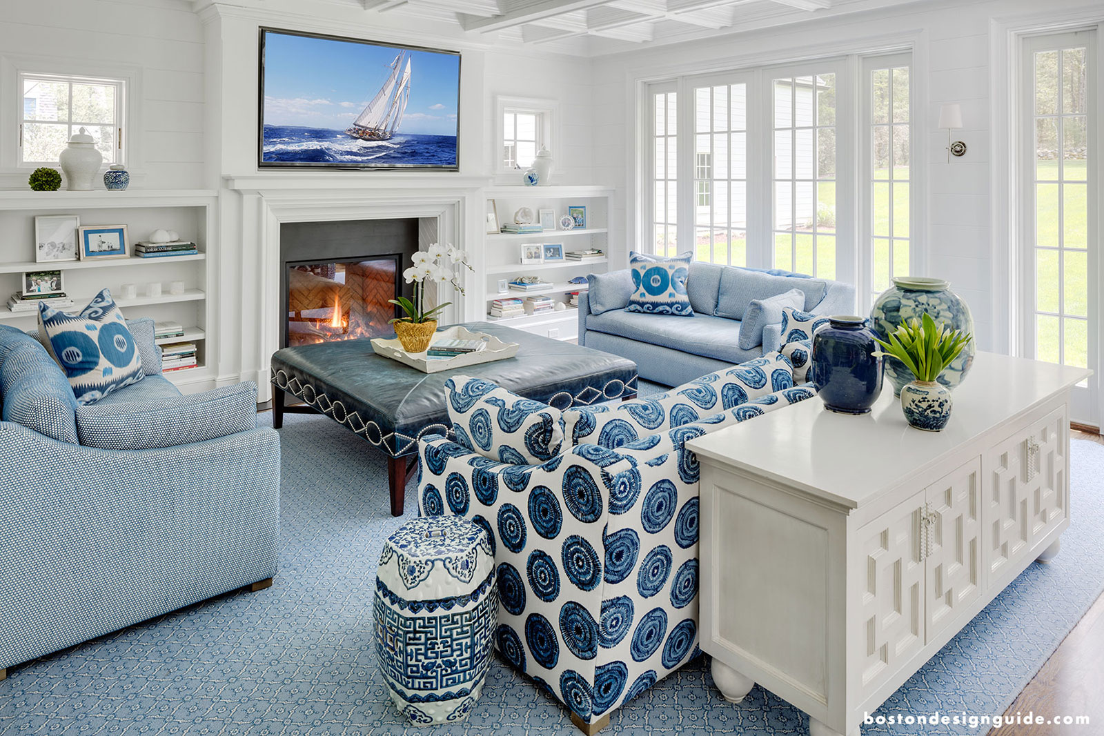 High-end living room with blue and white decor
