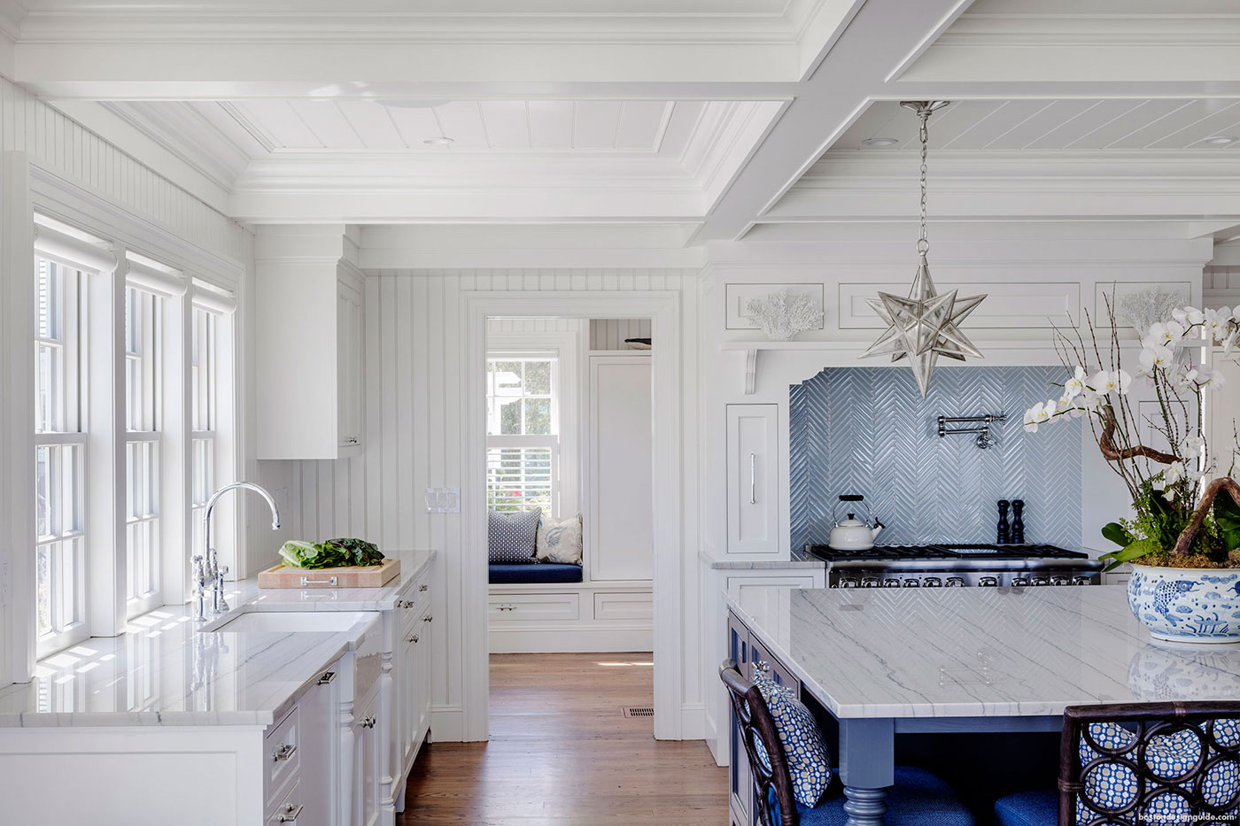 Blue and white high-end kitchen