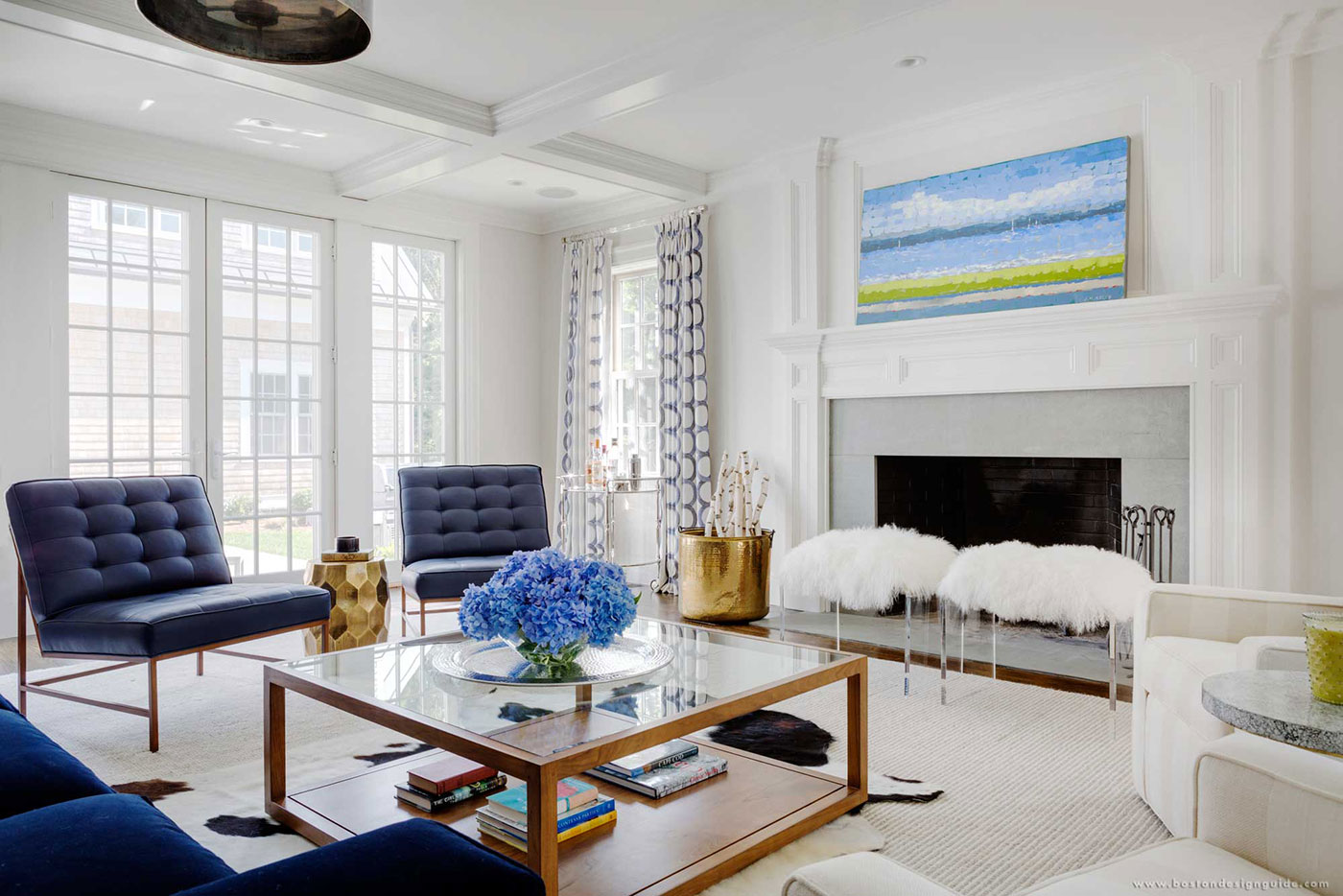 High-end living room with white and blue decor