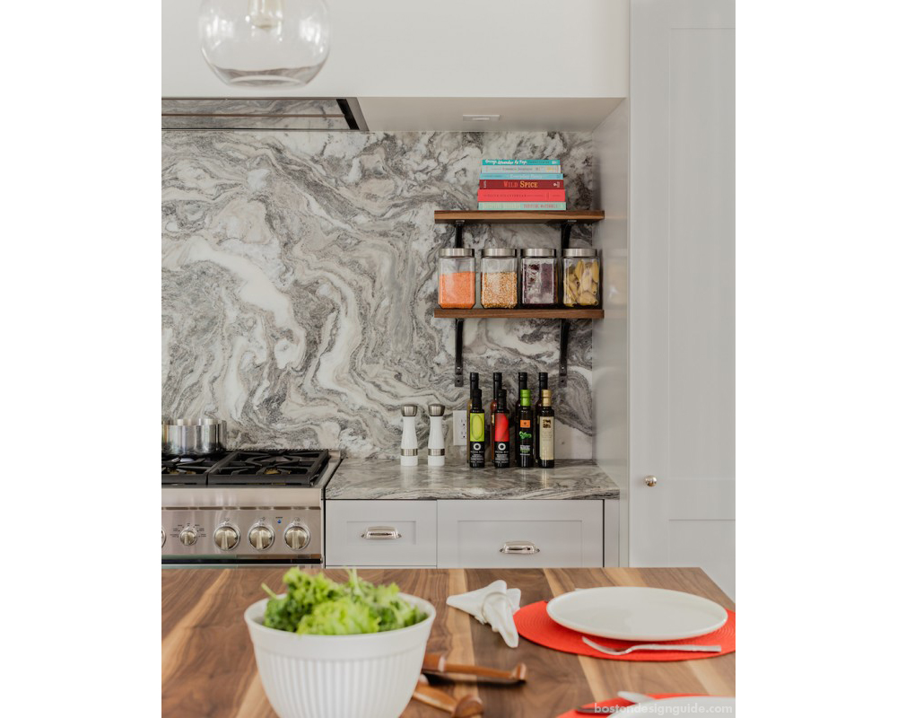 Vermont Danby Marble Backsplash And Countertop Material Incorporated By  Carefully Managing The Cost Of Custom Cabinets, Appliances And Other Items  Saving ...