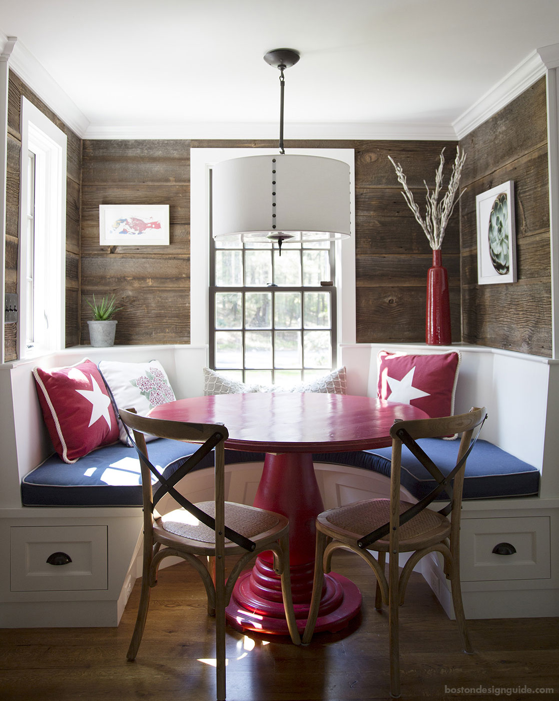 Red, white and blue custom dining nook constructed by brookes + hill custom builders, inc.