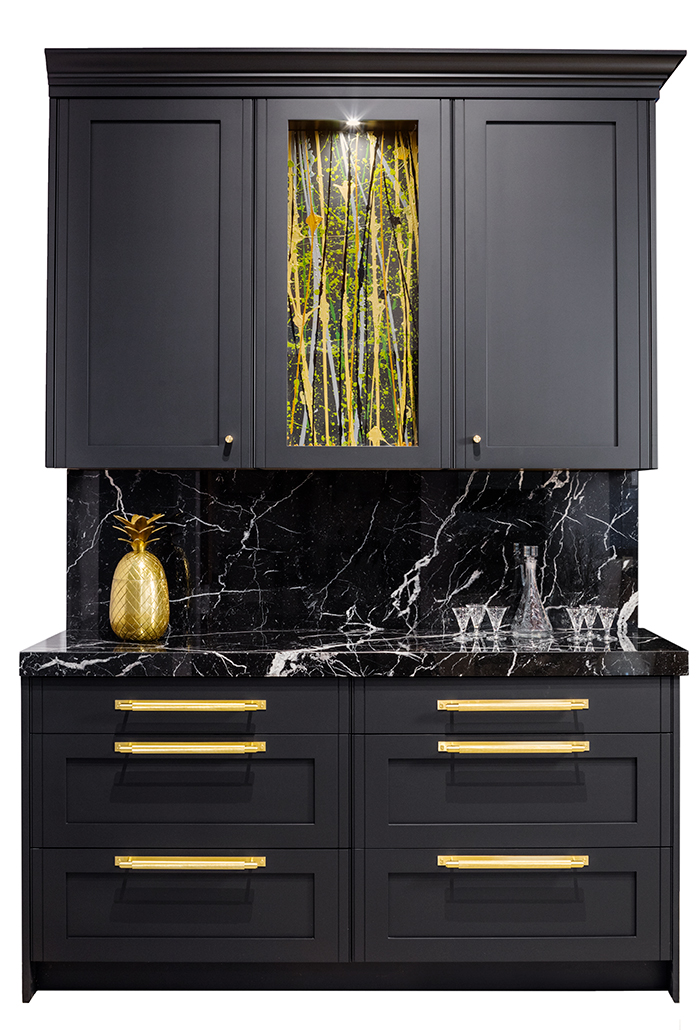 HIgh-end custom cabinetry with art