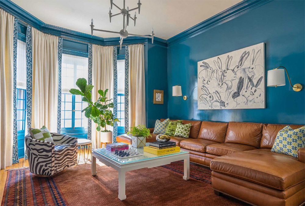 Colorful custom upholstery by Boston-based Carole Bruce Workroom