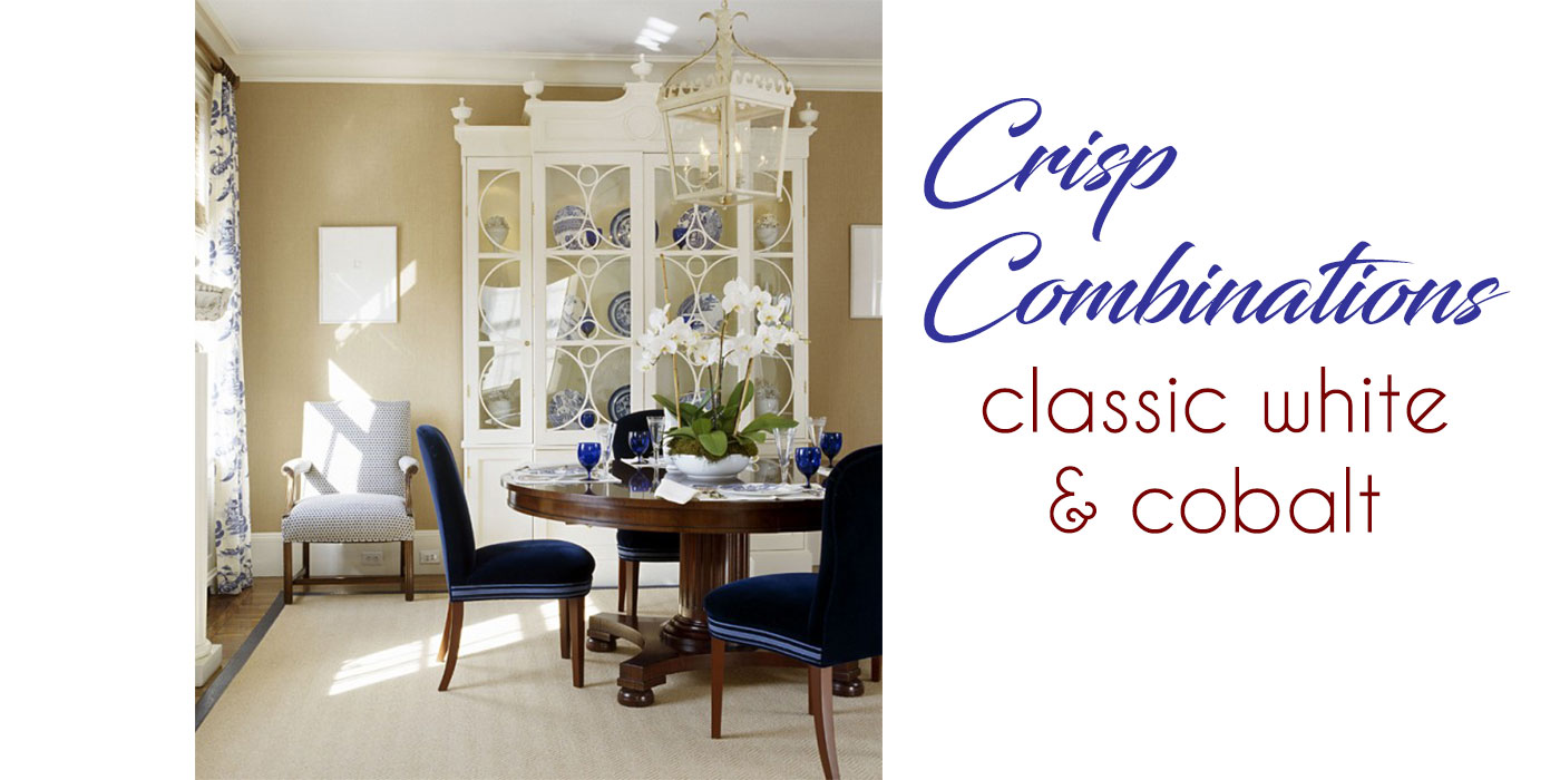 Classic white and cobalt dining room designed by Carter & Company