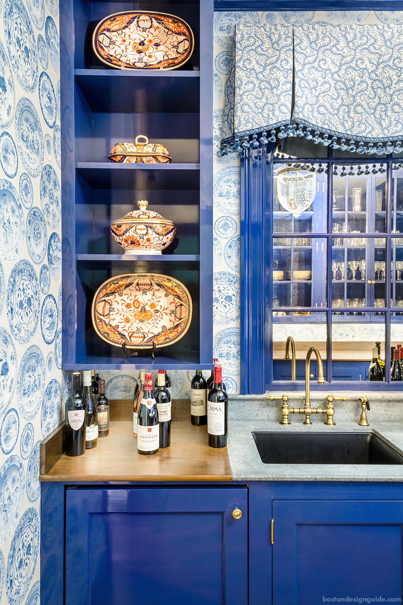 Classic blue wet bar designed by Carter & Company Interior Design