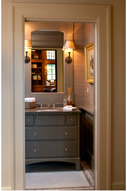 Manly Bathroom Vanity: Trending: Grasscloth Walls