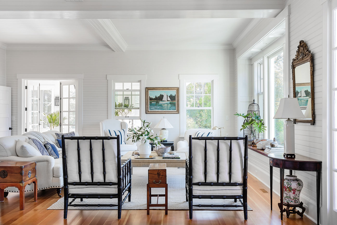The original living room remained intact for the renovation of the Cape Cod