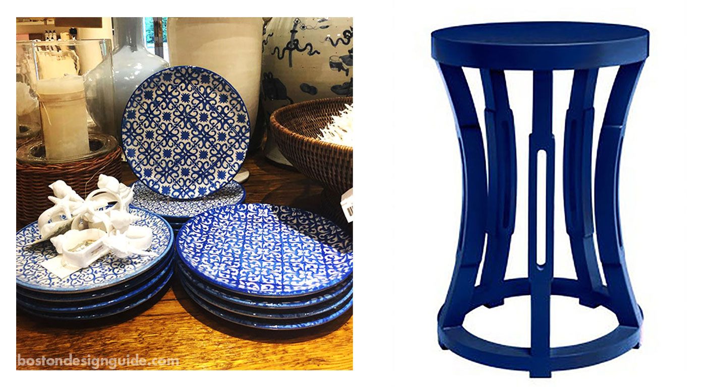 Classic blue home furnishings and accents at Surroundings Home