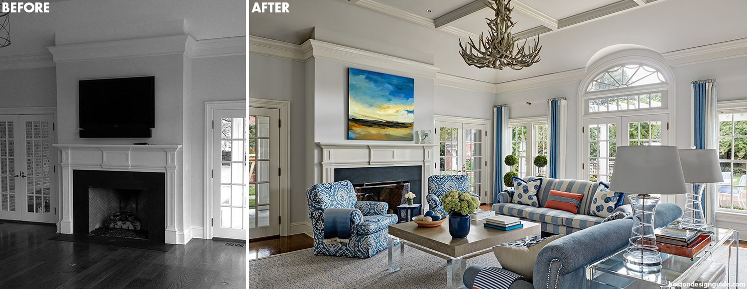 before and after residential home living room renovation addition